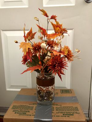 Fake flowers with glass vase for Sale in Chandler, AZ