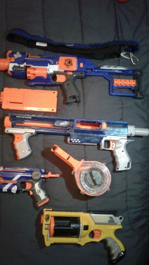4 nerf guns+2 mags, and a strap for bullets+25 bullets for Sale in Fresno, CA