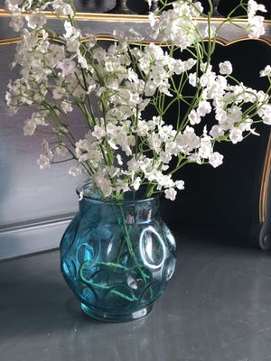 Teal glass vase with faux flowers for Sale in Cave Creek, AZ