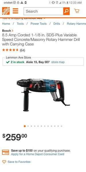 BOSCH SDS-Plus Variable speed/concrete/masonry Rotary Hammer Drill for Sale in Phoenix, AZ
