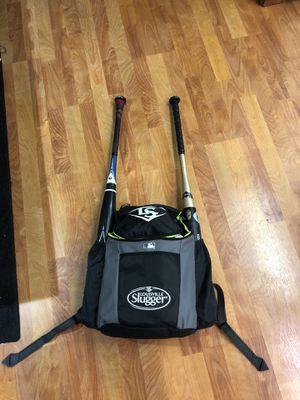 Baseball kit 2 softball bats backpack for Sale in Moreno Valley, CA
