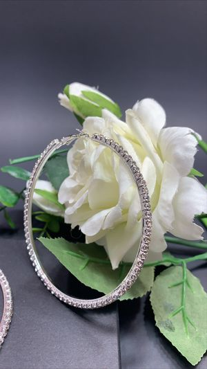 Silver Plated 86mm Big Circle Rhinestone Hoop Earrings, Silver Color for Sale in Los Angeles, CA