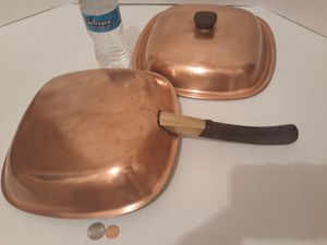 "Vintage Copper Metal Pan with Lid, Bridgeport Copper Pan, 19"" Long and 12"" x 12"" Pan, Quality Copper, Kitchen Decor, Cooking, Shelf Display for Sale in Lakeside, CA"