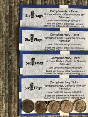 ⛱💦🏊‍♀️ SIX FLAGS HURRICANE HARBOR TICKETS (4) ⛱💦🏊🏻‍♂️🎟🎟🎟🎟 $20 for Sale in Lynwood, CA