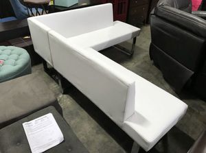 2 piece white leather Modern bench/ sofa set chrome base retail $877 for Sale in San Diego, CA