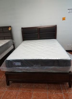 Oak Bed Frame w/ Bonded Leather Headboard [NO MATTRESS] [Queen $399] [King $479] Only $50 and 90 days to pay Same as Cash! for Sale in Irving, TX