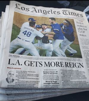 LA Times Dodgers win 2020 World Series for Sale in Downey, CA