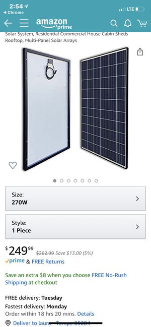 270-Watt 24-Volt Polycrystalline Solar Panel for Residential Commercial Rooftop Back-Up System Off-Grid Application for Sale in Tempe, AZ