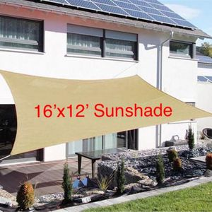 New 16x12 ft Patio Pool Sunshade Sail Shade Cover Sun Screen UV Tan ROPES AND HOOKS INCLUDED for Sale in Riverside, CA