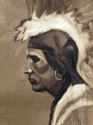 Artist: Joe Develasco (1933-1999) American Indian Picture for Sale in Park Ridge, IL