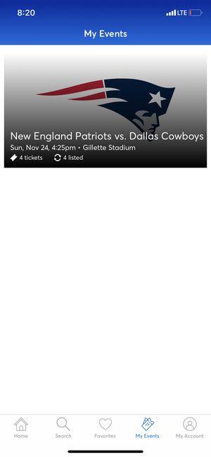 Patriots Tickets Vs Dallas Cowboys for Sale in Salem, MA