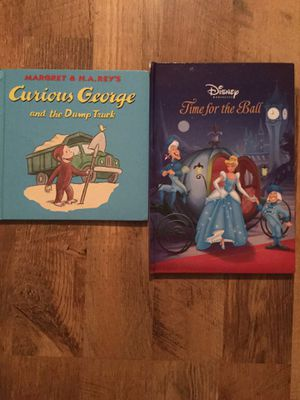2 book curious George and Cinderella time for the ball for Sale in Charlotte, NC