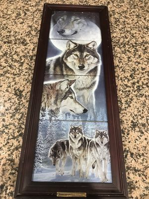 Spirit of the Night Framed Wolf Ceramic Art for Sale in Rockville, MD