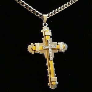 Gold & silver cross with 24in necklace. Both made with 316L stainless steel. for Sale in Glen Burnie, MD