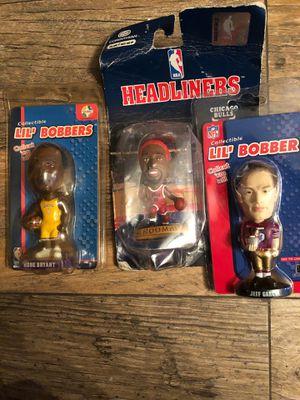 Three figures small Kobe Bryant Lakers Dennis Ramen bulls Jeff Garcia 49ers toy bobble for Sale in Stockton, CA