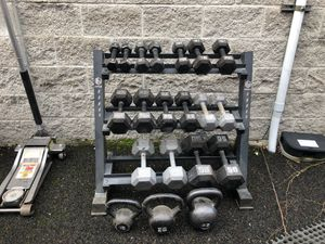 Dumbbells, kettlebells with rack for Sale in Damascus, OR