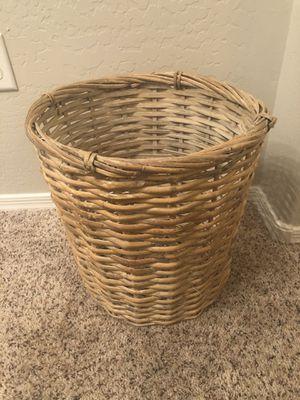 15 inch wicker basket wastebasket for Sale in Gilbert, AZ