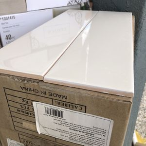 Almond Glossy Ceramic Tiles Sudway Size 4x16 Box Come With 25 Items Cover 12 Fts Price Por Foot $2 boxe $24 dls total boxes 15 cases total square for Sale in CA, US