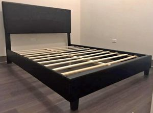 Black Leather Queen Bed Frame with Mattress!! Brand New Free Delivery for Sale in Chicago, IL