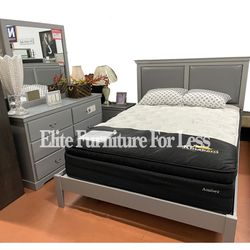 Clearance* Queen Gray Bedroom Set- (Queen Bed Frame, Dresser, Mirror, and One Nightstand) for Sale in Chula Vista,  CA