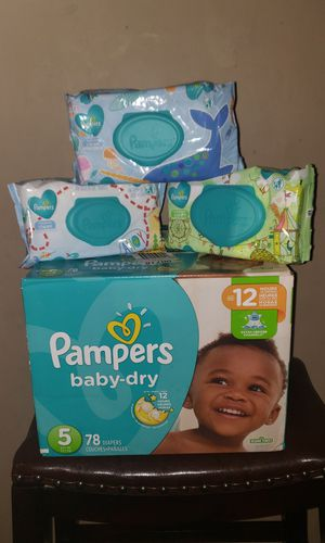 PAMPERS BABY DRY SIZE#5+ 216 PAMPERS WIPES!!$25.00 for Sale in Riverdale, GA
