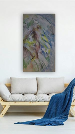 "Original Contemporary Abstract Painting - Acrylic On Canvas - 23""x42"" for Sale in Raleigh, NC"