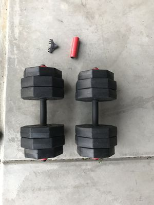 Weights 50 pounds with 2 dumbbell handles for Sale in Etna, OH