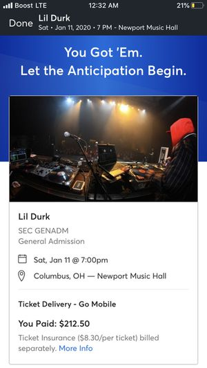 Lil durk tickets for Sale in Dublin, OH