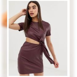 New Asos Design Fuax Leather Mini Dress Wi Th Cut Out Side . Size 4 for Sale in Beaverton,  OR