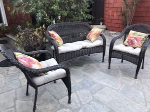 3 piece outdoor cushioned wicker patio set for Sale in Upland, CA