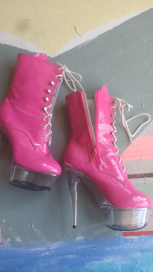 Hot pink exotic laced boots for Sale in Oxnard, CA