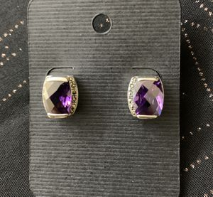 Genuine Purple Amethyst Earrings Set In Sterling Silver (925) Stamped OBO for Sale in Redlands, CA