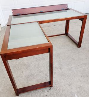 Beautiful Frosted Glass Wood L-Shaped Executive Study Work Workstation Desk + Hidden Drawer to Hide Cables for Sale in Monterey Park, CA