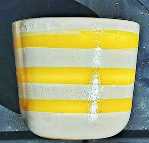 Mid century modern yellow horizontal striped banded thick terra cotta flower pot made in italy for Sale in Saginaw, MI