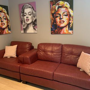 Two piece red leather sofa set for Sale in Chino Hills, CA