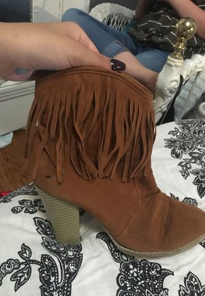 Brown fringe boots for Sale in Tulsa, OK