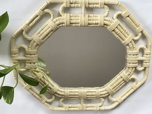 Vintage 70s Decorative Wall Mirror / mirror tray Plastic Faux Wicker Style Mirror Made In USA 17x14 for Sale in Decatur, GA