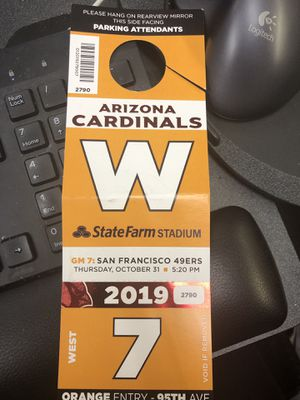 Orange parking pass cardinals and San Francisco 49ers for Sale in Waddell, AZ