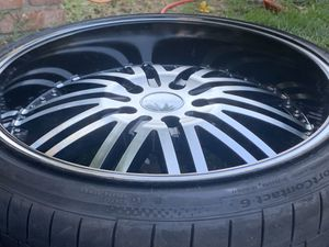 """20"""" 5/120 lug pattern rims and tires for Sale in Torrance, CA"""