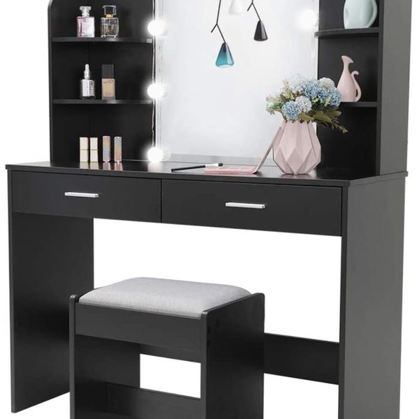 USIKEY Large Vanity Set with 10 Light Bulbs, Makeup Table with Cushioned Stool, 6 Storage Shelves 2 Drawers, Dressing Table Dresser Desk for Women, Gi