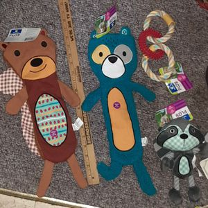"$42 PETCO DOG TOY LOT - 18"" SQUIRREL & BEAR - Raccoon Rope toy for Sale in Manchester, NH"