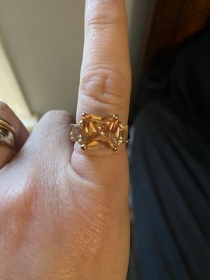 10kt gold over sterling silver with lab created citrine and diamonds size 8 for Sale in Nesbit, MS