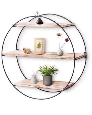 💥BRAND NEW Wall Shelf Rustic Wood Floating Shelves,Decorative Wall Shelf for Bedroom, Living Room, Bathroom, Kitchen, Office and More (Round) for Sale in Logan, UT