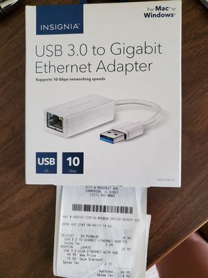 Insignia USB 3.0 to Gigabit Ethernet Adapter for Sale in Mahomet, IL