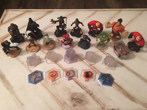 14 Disney Infinity Characters with 5 Play Set Crystals and 5 Power Discs for Nintendo Wii, Wii U, 3DS, PS3, PS4, Xbox 360, and Xbox One. for Sale in Brentwood, CA
