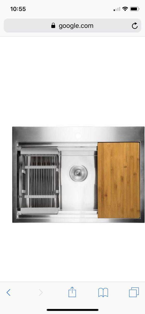 30x22x9. Drop - in Stainless Steel Kitchen Sink.
