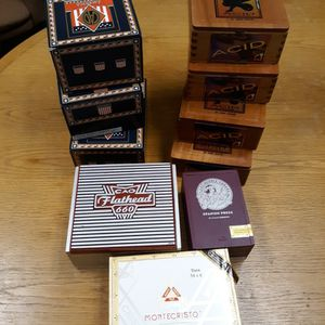 Lot Of 11 Cigar Boxes Wooden and Covered for Sale in Auburn, WA
