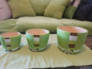 Green decorative nesting bowls or containers + Green sheer curtains w/ bow-tie tops. MOVING SALE!!! for Sale in Columbus, OH