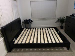 Black Leather Queen Bed Frame for Sale in Jacksonville, FL