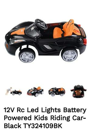 12V Rc Led Lights Battery Powered Kids Riding Car-Black for Sale in El Monte, CA